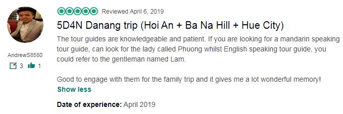 5D4N Danang trip (Hoi An + Ba Na Hill + Hue City)