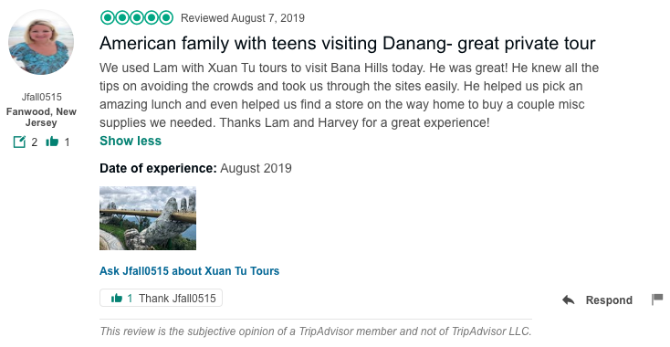 American family with teens visiting Danang- great private tour