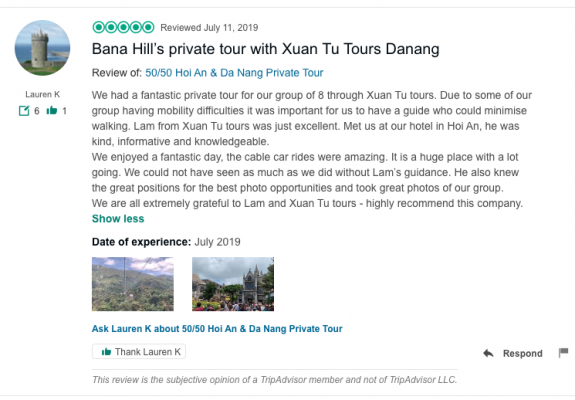 Bana Hill's private tour with Xuan Tu Tours Danang