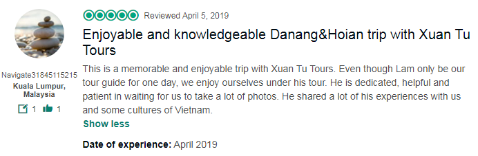 Enjoyable and knowledgeable Danang&Hoian trip with Xuan Tu Tours