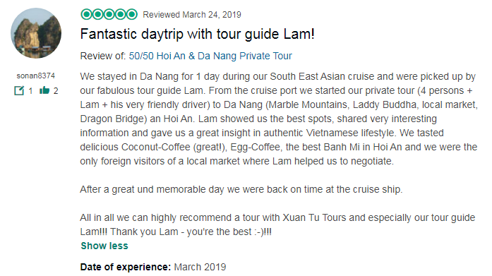 Fantastic daytrip with tour guide Lam!