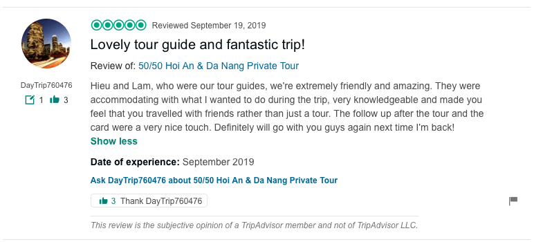 Lovely tour guide and fantastic trip!