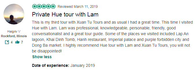 Private Hue tour with Lam