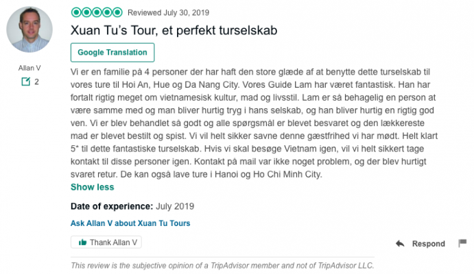 Xuan Tu's Tour, et perfekt turselskab