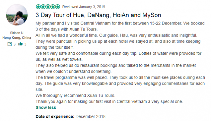 3 Day Tour of Hue, DaNang, HoiAn and MySon