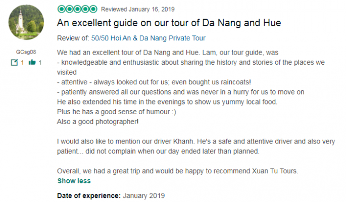 An excellent guide on our tour of Da Nang and Hue