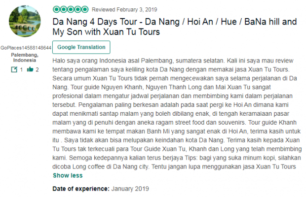 Da Nang 4 Days Tour - Da Nang / Hoi An / Hue / BaNa hill and My Son with Xuan Tu Tours