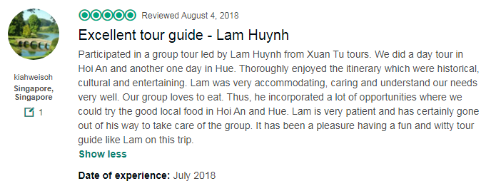 Excellent tour guide - Lam Huynh