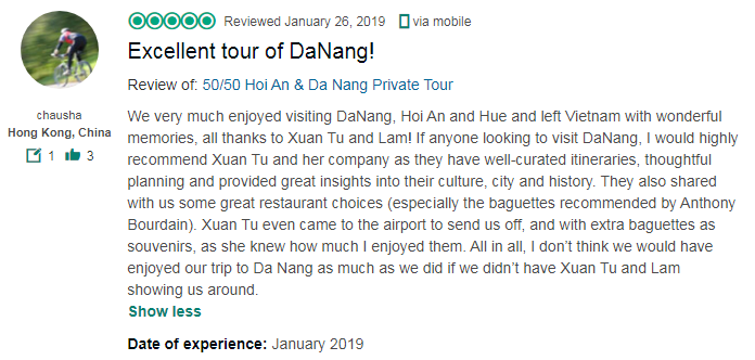 Excellent tour of DaNang!
