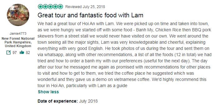 Great tour and fantastic food with Lam