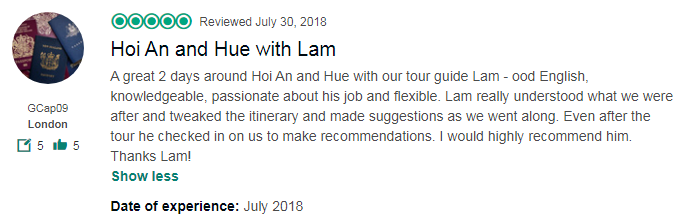 Hoi An and Hue with Lam