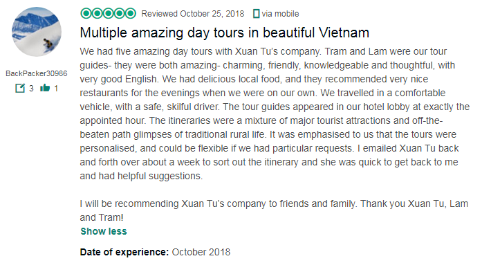 Multiple amazing day tours in beautiful Vietnam