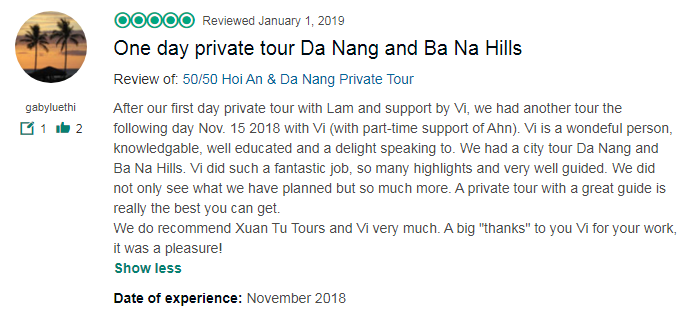One day private tour Da Nang and Ba Na Hills