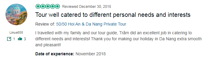 Tour well catered to different personal needs and interests