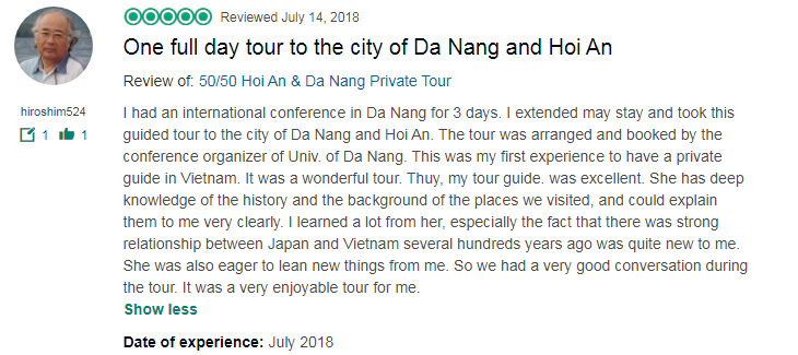 One full day tour to the city of Da Nang and Hoi An