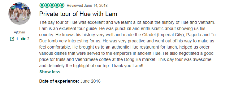 Private tour of Hue with Lam