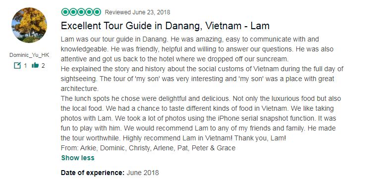 Excellent Tour Guide in Danang, Vietnam - Lam