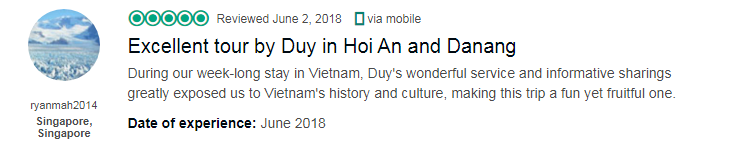 Excellent tour by Duy in Hoi An and Danang