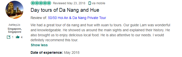 Day tours of Da Nang and Hue